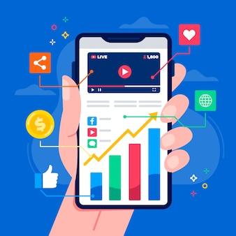 Tema de marketing de mídia social no celular