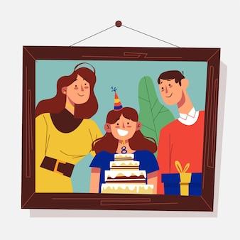 Tema de memórias pessoais para ilustração