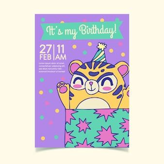 Tema de modelo de cartão de aniversário para crianças