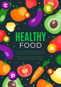 Tema de modelo de cartaz de comida saudável