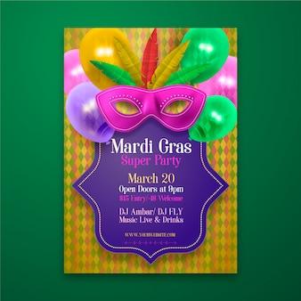 Tema de modelo de cartaz realista mardi gras