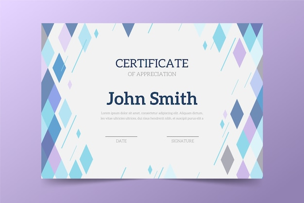 Tema de modelo de certificado abstrato