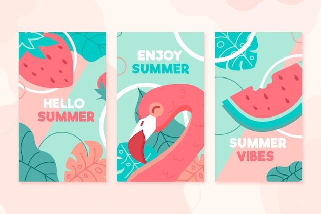 Tema de modelo de conjunto de cartões de verão