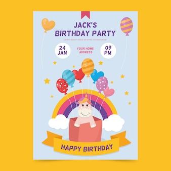 Tema de modelo de convite de aniversário para crianças