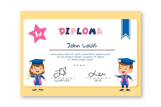 Tema de modelo de diploma para o conceito de crianças
