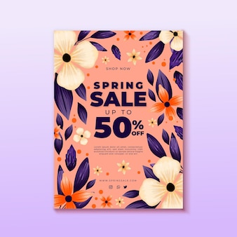 Tema de modelo de folheto de venda de primavera