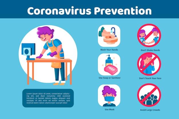 Tema de modelo de infográficos de prevenção de coronavírus
