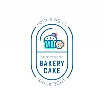 Tema de modelo de logotipo de bolo de backery