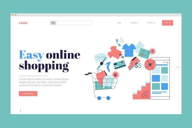 Tema de modelo de página de destino de compras on-line de design plano