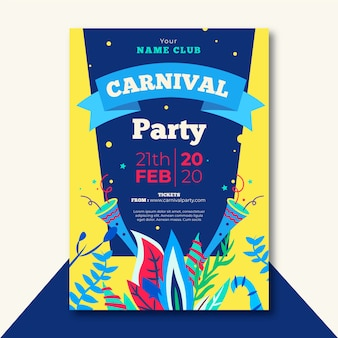 Tema de modelo de panfleto de festa de carnaval de design plano