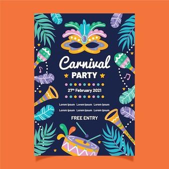 Tema de modelo de panfleto de festa de carnaval desenhados à mão