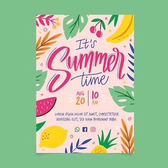 Tema de modelo de panfleto de festa de verão