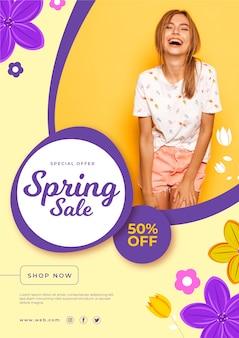 Tema de modelo de panfleto de venda primavera