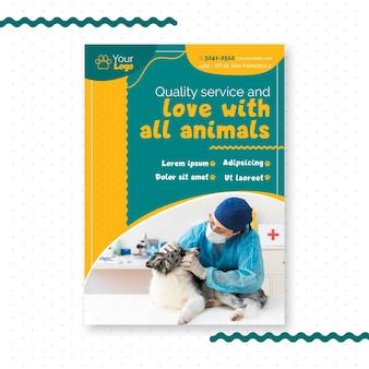 Tema de modelo de panfleto veterinário
