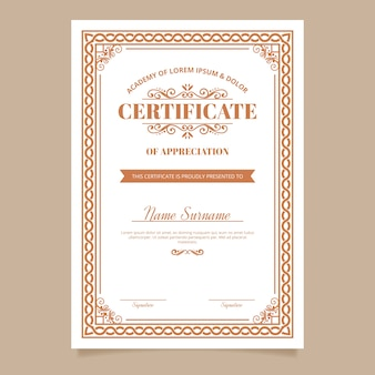 Tema de modelo de prêmio de certificado elegante