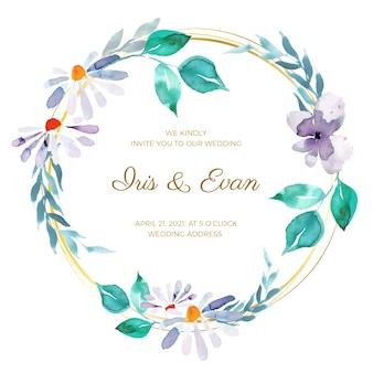 Tema de moldura floral de casamento
