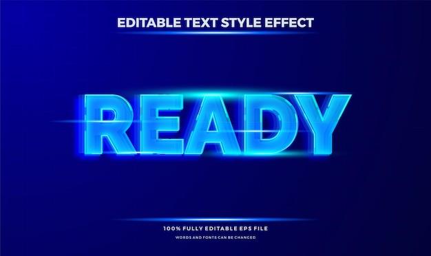 Tema de movimento de texto futurista de cor azul. efeito de estilo de texto editável moderno.
