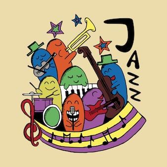 Tema de música de jazz de personagem de doodle colorido bonito