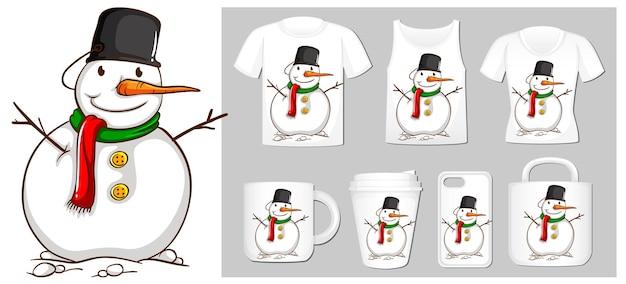 Tema de natal com boneco de neve em modelos de produtos