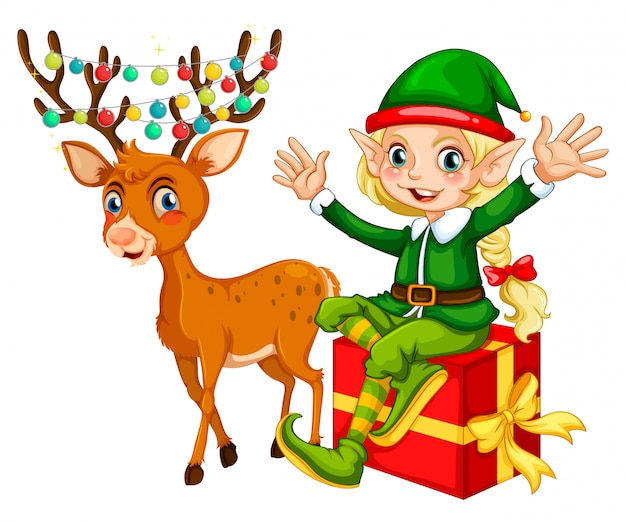 Tema de natal com elfo e rena