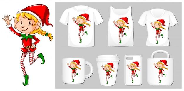 Tema de natal com elfo em modelos de produtos