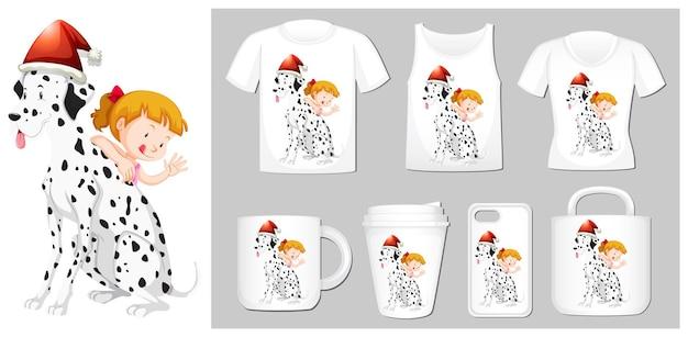 Tema de natal com menina e cachorro em muitos produtos