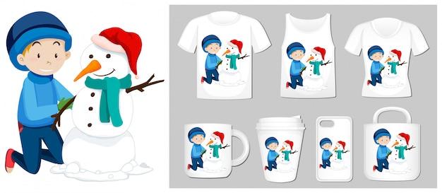 Tema de natal com menino e boneco de neve em modelos de produtos