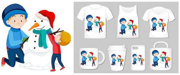Tema de natal com meninos e boneco de neve em muitos produtos