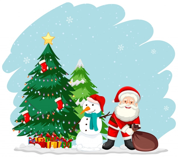 Tema de natal com papai noel e árvore