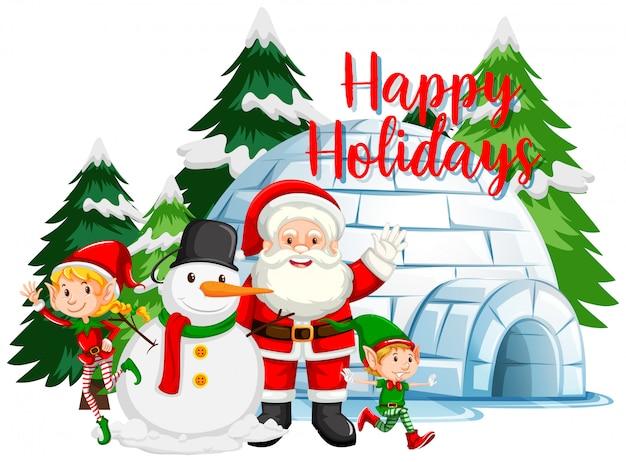 Tema de natal com papai noel e boneco de neve por igloo