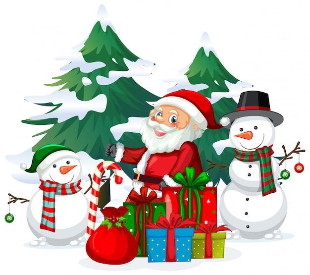 Tema de natal com papai noel e boneco de neve