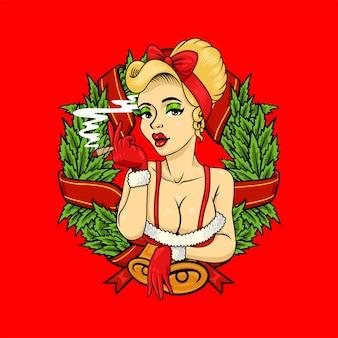Tema de natal do mascote do logotipo da maconha da menina pipup