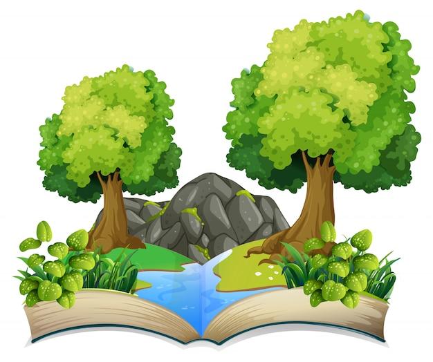 Tema de natureza de livro aberto