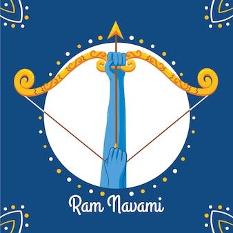 Tema de navami feliz ram desenhado à mão