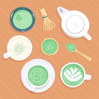 Tema de pacote de chá matcha