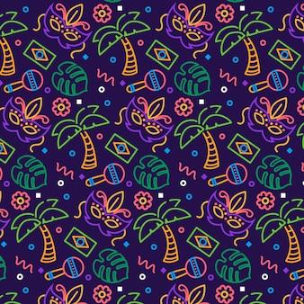 Tema de padrão de carnaval brasileiro desenhado à mão