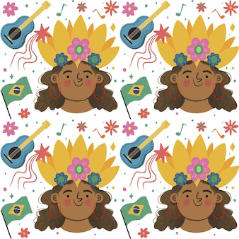 Tema de padrão de carnaval brasileiro Vetor grátis