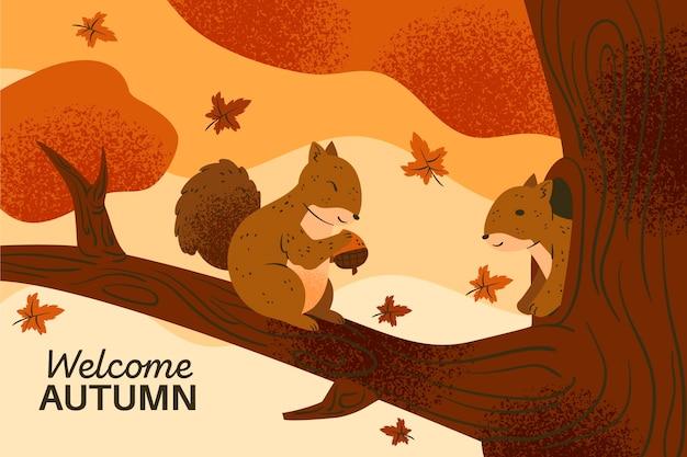 Tema de papel de parede de outono desenhado