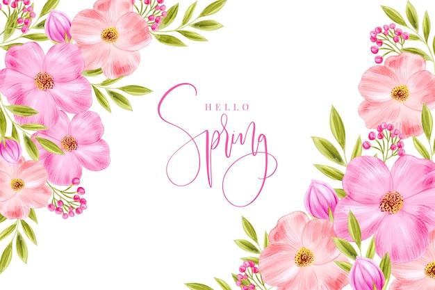 Tema de papel de parede de primavera em aquarela