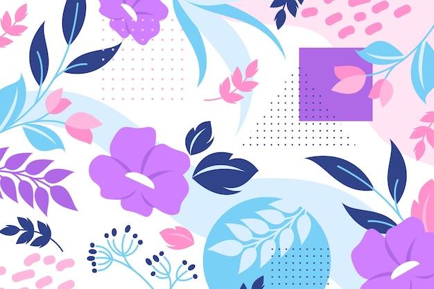 Tema de papel de parede floral abstrato de design plano