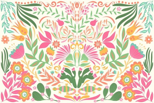 Tema de papel de parede mexicano colorido de design plano