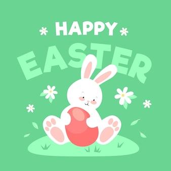 Tema de páscoa feliz design plano com coelho