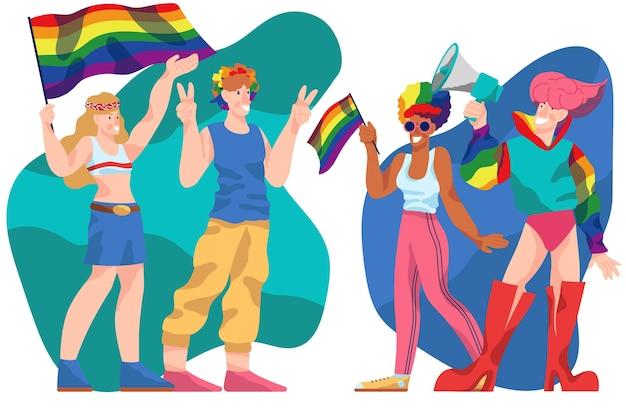Tema de pessoas do dia do orgulho