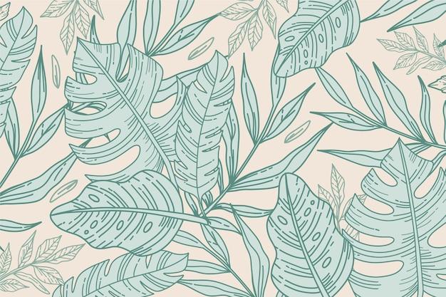 Tema de plano de fundo de folhas tropicais lineares