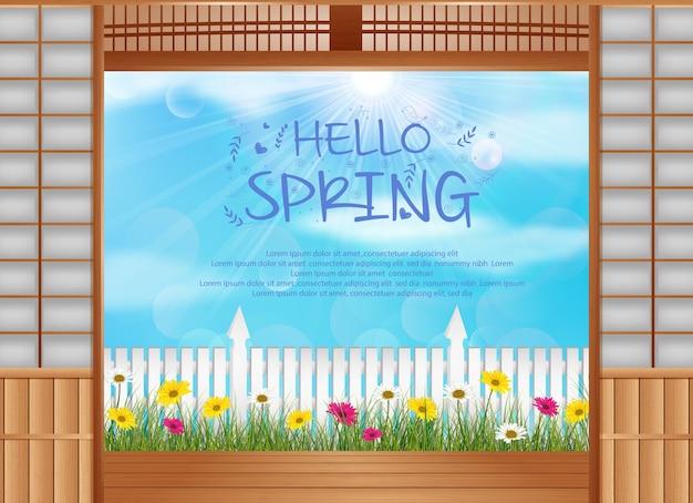 Tema de plano de fundo de primavera com flores coloridas florescendo