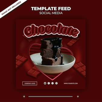 Tema de postagem de modelo de feed de mídia social chocolate para instagram e outros anúncios de mídia social