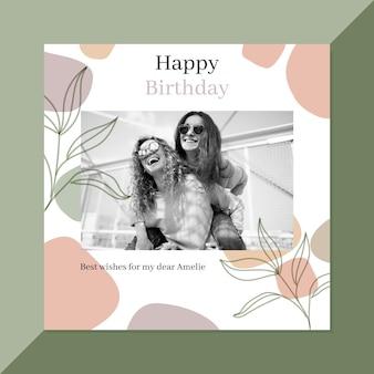 Tema de postagens do instagram de feliz aniversário