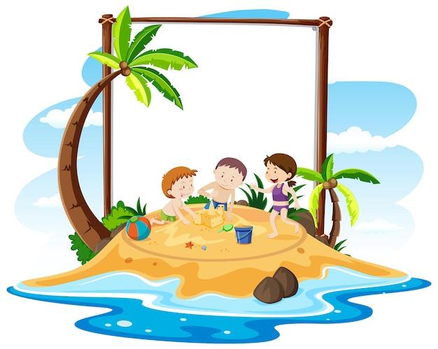 Tema de praia de verão com banner em branco isolado no branco