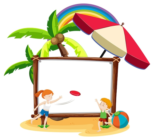 Tema de praia de verão com banner em branco isolado no fundo branco