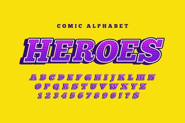 Tema de quadrinhos 3d para coleção de alfabeto